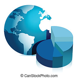 pie chart and globe illustration