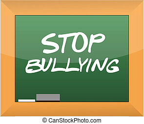stop bullying text written on a blackboard illustration...