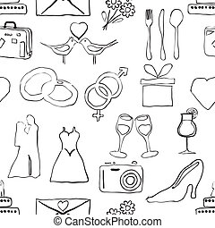 seamless doodle wedding pattern