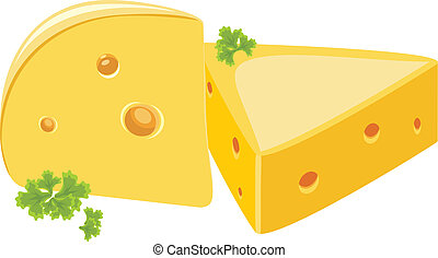 Piece of cheese with parsley. Vector illustration