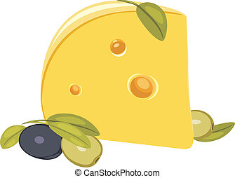 Piece of cheese with olives. Vector illustration