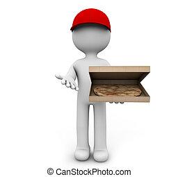 pizza deliver - render of a man delivering pizza