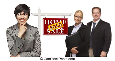 Mixed Race People with Sold Real Estate Sign Isolated