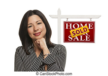 Woman and Sold Home For Sale Real Estate Sign Isolated