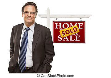 Businessman and Sold Home For Sale Real Estate Sign Isolated...