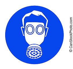 Gas mask - blue industrial warning signs