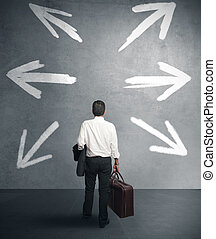 Businessman with different destinations - businessman must...