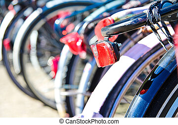 Bikes parked in the centre of amsterdam - Back detail of...