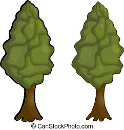 Cartoon Lombardy poplar. eps10