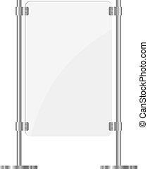 Illustration of a glass screen with metal racks eps10