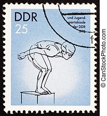 Postage stamp GDR 1975 Diving