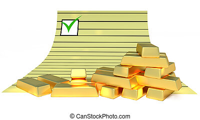 Goldbars and document - Gold bars and document paper on the...