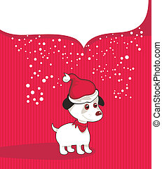 Christmas Background With Puppy