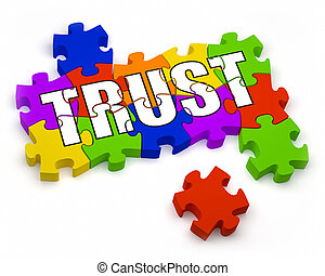 Building Trust - 3D jigsaw pieces with text. Part of a...