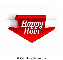 Happy Hour - Red glass top arrow bookmark. Part of a series.