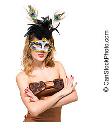 Portrait of a young woman wearing a carnival mask