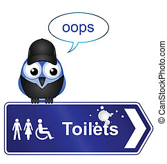 Toilet sign - Comical Toilet sign isolated on white...
