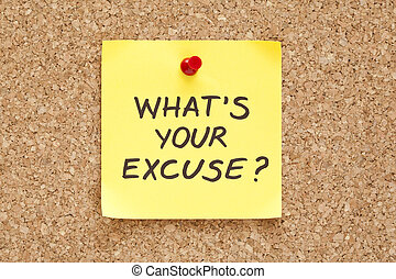 What is Your Excuse - Whats Your Excuse, written on an...