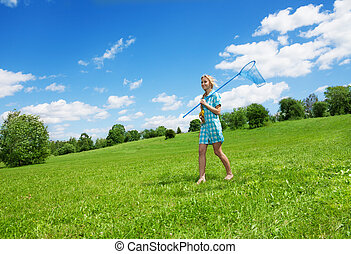 girl and beautiful countryside landscape