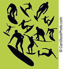 pacific surfer silhouette vector graphic design