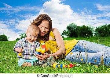 兒子, 公園, 玩, 母親
