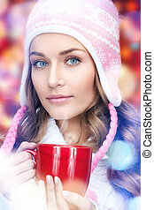 beautiful woman with red mug - picture of beautiful woman...