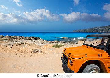 aqua formentera sea Es Calo and vintage car