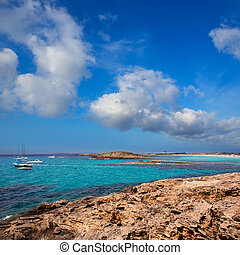 beach Illetas Illetes in Formentera near Ibiza with aqua...