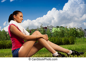 Jogger girl taking break - nice jogger girl taking break...