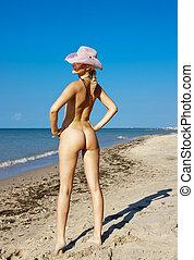 pelado, praia, mulher, jovem