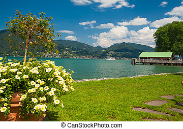 Lake Tegernsee near the town Bad Wiessee in Bavaria -...