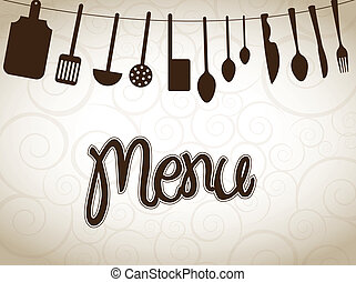 cookware over vintage background vector illustration