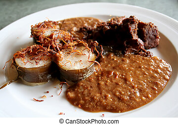 Malay beef - Traditional malay cuisine of sticky rice and...