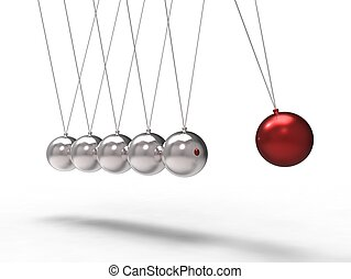 newton physic challenge - 3d illustration of a red chrome...