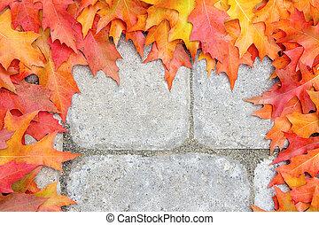 Oak Leaves Frame Over Stone Bricks