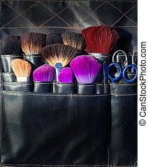 Maquillaje, artista, cepillos, negro, tijeras, herramientas