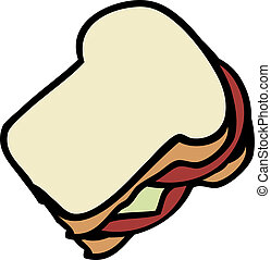 Sandwich - Cartoon food illustration of a sandwich white...