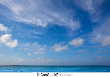 藍色, 云霧, 天空, 背景