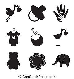 silhouettes of baby items over white background vector...