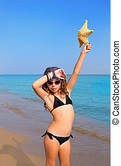 blue beach girl with bikini starfish and sunglasses - blue...