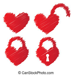 heart shaped padlocks over white background vector...