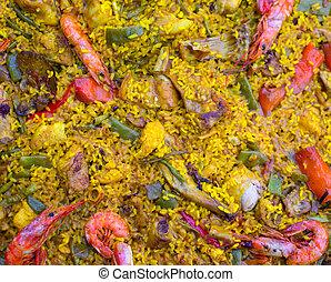 español, arroz, paella, mezclado, carne, mariscos