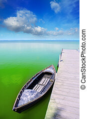 Albufera lake in Valencia El Saler under blue sky
