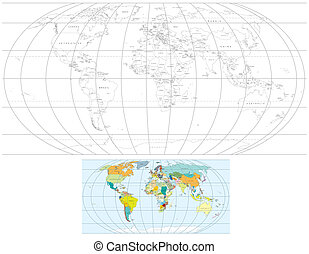 Contour World Map. Set of Detailed Vector Political Maps
