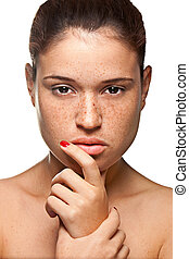 Skin care - Portrait of young woman isolated on white...