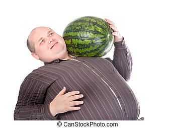 Obese man carrying a watermelon