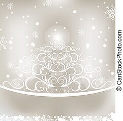 Celebration glowing card with Christmas floral pine -...