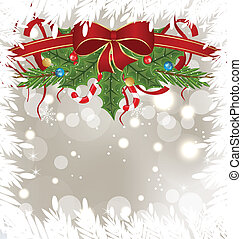 Christmas frosty card with holiday decoration - Illustration...