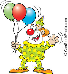 Cartoon Clown with Balloons - Cartoon illustration of a...