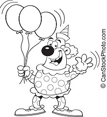 Cartoon Clown with Balloons (Black - Black and white...